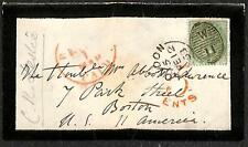 ENGLAND #28 STAMP LETTER AUTOGRAPH C.R. LESLIE ARTIST MOURNING COVER TO USA 1858