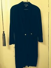 Thierry Mugler Activ Asymmetrical Wrap over Navy Blue Dress. Size 14 /44.