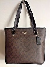 NWT Coach 58294 Top Zip Tote Signature Coated Canvas Handbag Brown / Black