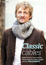 """KNITTING PATTERN MEN 15x11"""" ARAN CABLED COWL RIBBED KTM AUA SPECIAL OFFER"""