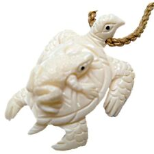 HAWAIIAN NZ MAORI HONU SEA TURTLE & FROG NECKLACE BUFFALO BONE PENDANT NEW