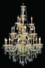 "21 LIGHT BEAUTIFUL MURANO VENETIAN STYLE 38""x53"" GOLD CRYSTAL CHANDELIER FOYER"