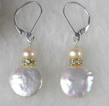 Genuine White Coin Button Pearl Gold Plated Crystal Leverback Dangle Earrings