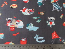 Michael Miller Fabric Pugs Day Off NEW! Craft Quilting Dressmaking Sewintocrafts
