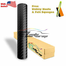 "*60""x60"" Premium 3D Carbon Fiber Matte Black Vinyl Wrap Sticker Bubble Free DIY"