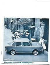CHRYSLER SIMCA 1000 RANGE SALES BROCHURE EARLY 60's? USA SPECIFICATIONS