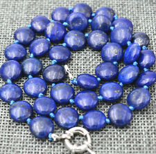 """charming 12 mm coin Natural lapis lazuli gemstone jewelry necklace 18 """""""