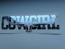 COWGIRL 300mm LONGHORN DECAL CHROME MIRROR SILVER  Ute Truck Toyota RMW STICKER