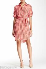 LAUNDRY By SHELLI SEGAL Print Twill Shirtdress - NWT Size 8 $150 HIBISCUS