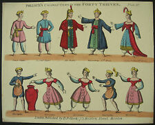 Pollock's c.1870 Juvenile Toy Theatre Forty Thieves Litho Hand Coloured Original