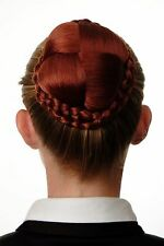 Bun Hair piece ornate braided Hair bun Costume Red Copper red N796-350
