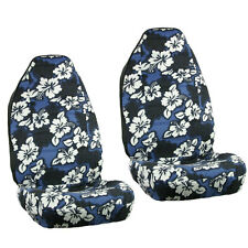 New Blue Hawaiian Flowers Hibiscus Floral Print Car Front Bucket Seat Covers