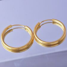 Yellow Gold Filled Womens 33mm Big Hoop Earrings Smooth Wire Hoop