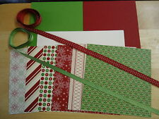 Stampin Up BE OF GOOD CHEER 6 x 6 Designer Paper Card Kit CHRISTMAS Ribbon