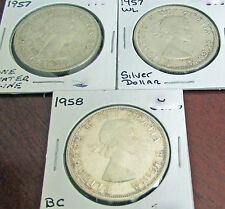 Canada 1957  one WL ,  1957 Regular & 1958 BC Totem /Death Dollar Trio Variety