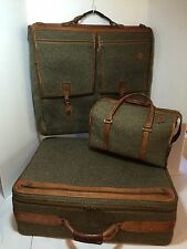 Vintage Hartman 3 Piece Garment, Suit Case, Carry On, Tweed And Leather Bags