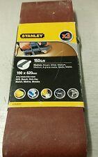 PK3 STANLEY SANDER BELT 100 X 620 150g/k (MED) FIT AEG,BOSCH,METABO,MAKITA ETC.