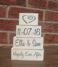 Happily ever after wedding name date solid pine cube set shabby vintage chic