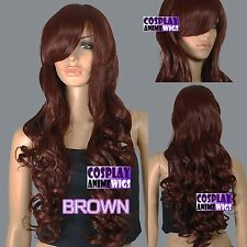 80cm Dark Brown Heat Styleable Curly Long Cosplay Wigs 967_033