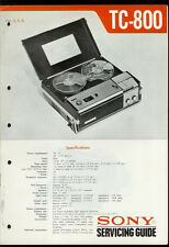 Orig Factory Sony TC-800 Reel to Reel Tape Deck Service Guide Manual