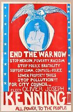 1968 Anti Vietnam War Campaign Poster: Oliver Joseph Kenning II for City Council