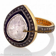 Vintage 2.37ct Rose Solitaire Antique Cut Diamond Sterling Silver Ring Jewelry