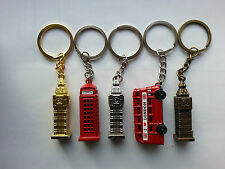 5 X METALLIC KEY RINGS LONDON BRITISH UK SOUVENIR GIFT