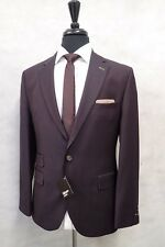 Men's Brand New Burgundy Gibson Slim Fit Suit 42R W36 L33 JB742