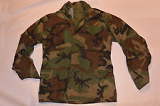 GENUINE US MILITARY 1984 CAMO M-65 FIELD JACKET! ZIPPER FRONT/CONCEALED HOOD M L