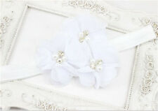 1pcs Baby Kid White Chiffon Pearl Rhinestone Flower Headwear Headbands Hair Bows