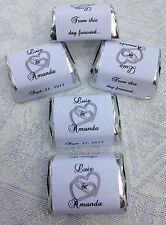 120 DBL SILVER HEARTS wedding candy WRAPPERS/STICKERS/LABELS personalized FAVORS
