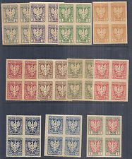 1919 Poland Kraków 55-65 | 61-71 Polish Eagle Imperf Blocks of 4 Set of 11 MNH*