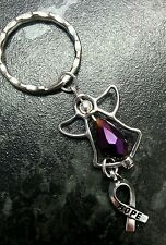 Fibromyalgia  awareness purple angel keyring charm.swarovski element glass bead.