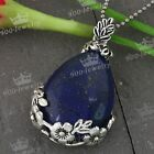 1pc Lapis Lazuli Gemstone Bead Teardrop Pendant Classic Bail Fit Necklace Gift