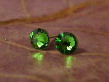 Genuine Austrian Crystal Surgical Stainless Steel Studs 4.8mm ~ Fern Green