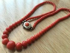Antique Genuine 100% Real Salmon/Red Undyed CORAL Beads Necklace 47.5 cm 14.7 gm
