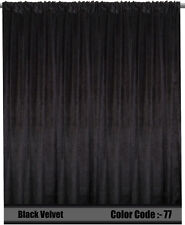 Saaria Velvet Curtain Panel Home Theater Stage Curtain Drape 13'W x 10'H Black77