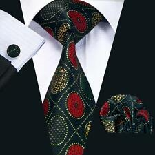Black 100% Pure Silk Neck Tie Cuff-links & Handkerchief Set Gold & Red Pattern