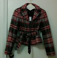The Limited Red Gray Black Plaid Womens Zippered Lined Jacket Blazer Sz. S NWT