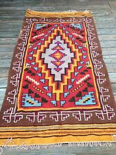 Vtg Handwoven Colorful Flat Weave Southwestern Geometric Area Rug 100% Wool 4x6