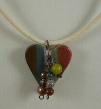 Multi Colored Heart Pendant Necklace w/a bit of Bling by Opus3Creations
