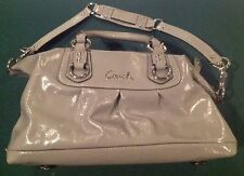 Coach Ashley Grey Patent Leather Satchel Shoulder Handbag Purse F15455