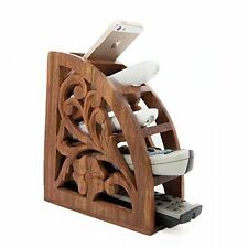 TV Remote Wooden Handcarved Phone Key Pen Glasses Organizer Storage Box Holder
