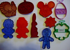 10 Cookie Cutter Mold LOT Stamp Biscuit Mickey Mouse Mixed Holiday Wilton Disney