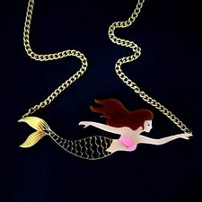 LARGE GOLD MIRROR MERMAID STATEMENT NECKLACE~Laser Cut Acrylic~Pink Glitter~NeW!