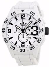 Adidas ADH2860 White & Black Newburgh Chronograph Silicone Strap Men's Watch NWT