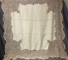 Antique Hand Made Tape Needle Lace Linen Mono JHF Square Tablecloth 70 x 73