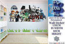 Star Wars Lego PERSONALIZED Extra Large wall sticker Childrens Bedroom.