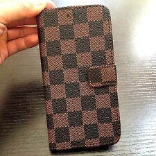 For iPhone 7+ PLUS - Brown Checker Plaid Card ID Wallet Money Pouch Case Cover
