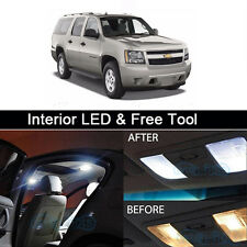 14Pcs White LED Lights Interior Package kit for 2007-2014 Tahoe & Suburban+Tool